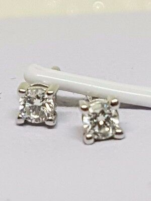 100% Genuine 9Ct White Gold  Diamond Solitaire Stud Earrings - Beautiful