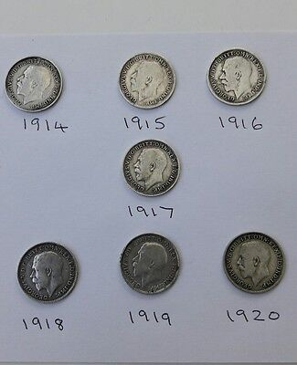 Set of 7 George V Silver Threepence Pieces from 1914 to 1920