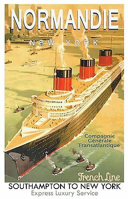 S.S. Normandie French Line Poster  12 x 18