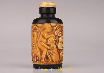 Cow Bone Deep Carved Ancient Men Women Love Action Record Statue Snuff Bottle