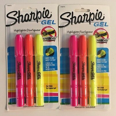 6 Sharpie Gel Stick Highlighters Assorted Colors Smear Free Technology 2pk NEW