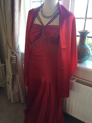 Ladies Red Ball gown Cocktail Dress Size 14