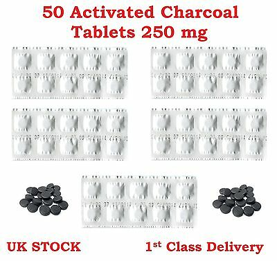 50 Activated Charcoal Tablets 250 mg – Heartburn, Indigestion, Detox, Wind