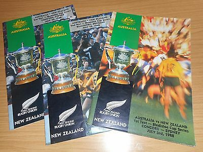 Rugby Union Bledisloe Cup Australia v New Zealand July 1988 3 Programmes