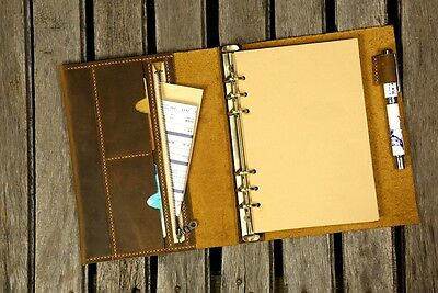 Personalized A5 Leather notebook planner / Refillable leather binder portfolio
