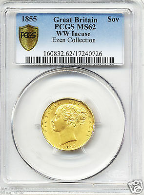 1855 Queen Victoria  Full Gold Shield Back Sovereign Coin Ms62 Unc