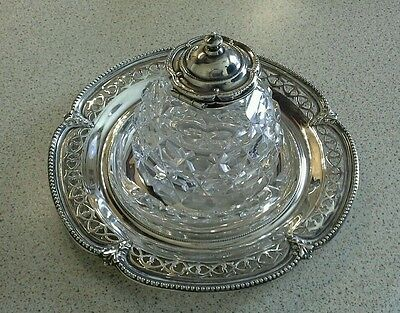 Antique solid silver and glass inkwell by Henry Wilkinson 1865