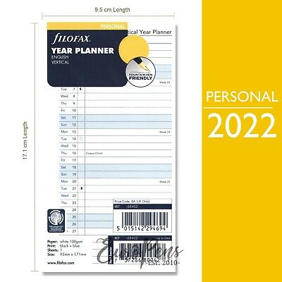 Filofax Pocket ACADEMIC MID YEAR 2017 - 2018 Week On Two Pages Diary Refill
