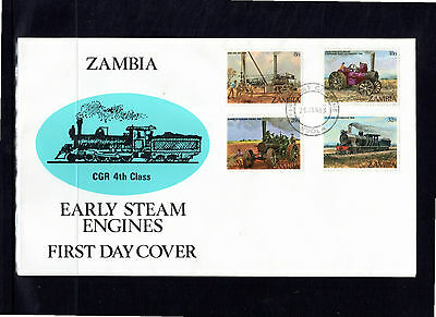 Zambia 1983 Early Steam Engines FDC