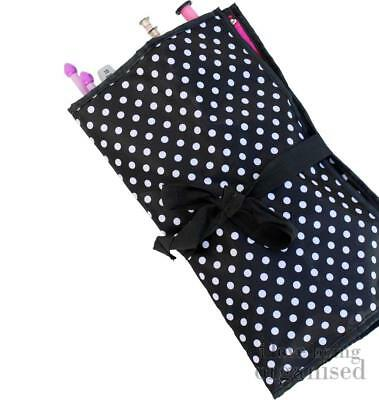 Polka Dot Needle Roll Up for Girls who Knit | Crochet Tool Storage Soft Case | C