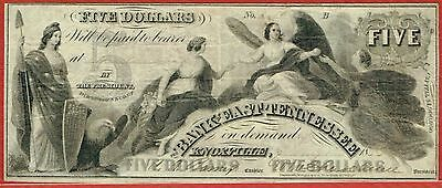 Bank Of East Tennessee, Chattanooga Tennessee 1.1.1855 $5.00