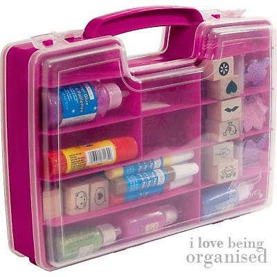 Art Supplies Storage Box Craft Carrier Pink Double Sided Craft N Go
