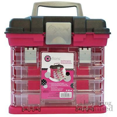 Creative Options 4 Tray Stacking Craft Organiser Compartment Box Pink