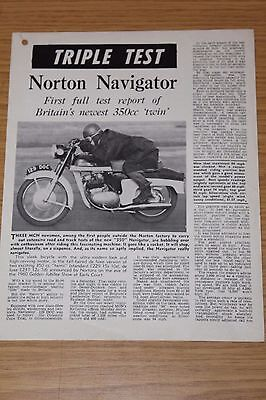Norton Navigator 350cc Twin Triple Test Reprinted by Norton Motorcycles 1961