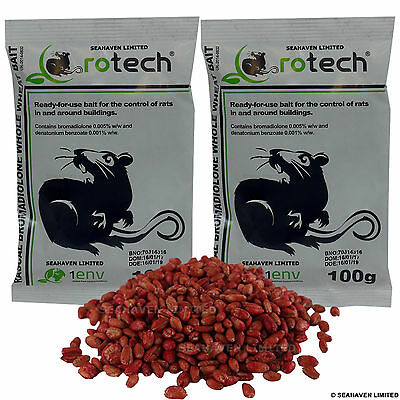 2 x 100g Rotech Bromadiolone Whole Wheat Grain Poison - Rat Killer Control Bait