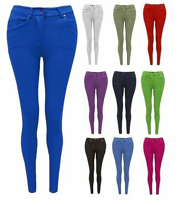 New Ladies Plain Slim Skinny Fit Jeggings Stretch Women Plus Size Leggings Jeans