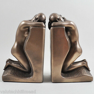 Castleton Home Solitude Ladies Cold Cast Bookends in Bronze Finish - 15.5cm H