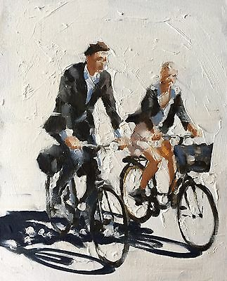 Couple Cycling J. Coates Original Oil Painting Art 10 X 8 Inches