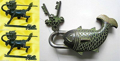 2 Style Rare Chinese Old Style Brass Carved Kylin / Fish Lock Key