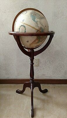"Vintage 12"" Replogle World classic globe / Bombay Co antique style wood stand"