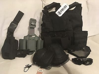 New Black Airsoft Tactical Army Vest, Knee Pads, Pouches, Goggles, Face Mask etc
