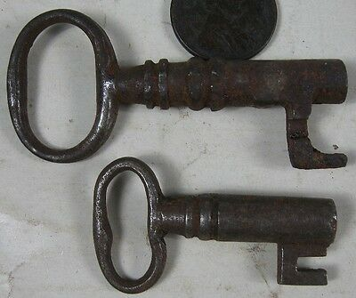 Lot of 2 Antique Barrel Skeleton Lock Keys