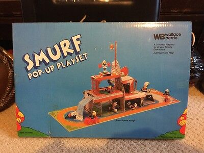 Vintage Smurf Pop-Up Playset 1983 Smurf Sports Village for Smurfy Characters