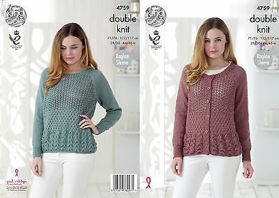 KINGCOLE 4759 LADIES DK KNITTING PATTERN  28 - 46 IN -not the finished garments