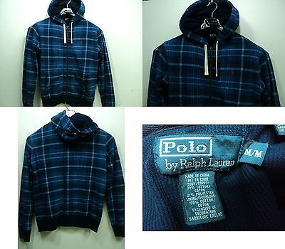 Polo Ralph Lauren Men Thick Full Zip Hoodie Lined Jacket Blue size MD