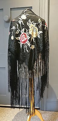Vibrant Antique Vintage 1920s ? Embroidered Floral Canton Silk Shawl