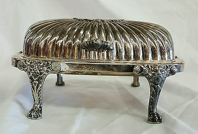 Vintage FB ROGERS Silverplate Raised Cat Lion Face Claw Foot Hinged Butter Dish