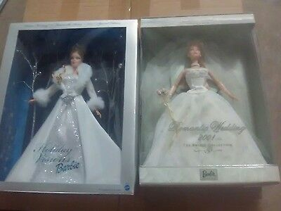 Romantic Wedding Barbie 2001 and holiday Visions Barbie
