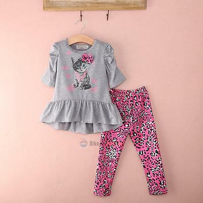 Toddler Kids Girls Outfit Clothes Cat T-shirt Tops+Long Pants Trousers 2PCS Set
