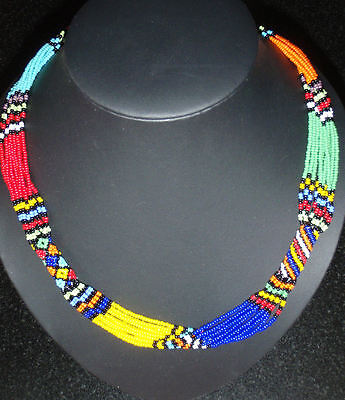 African tribal ethnic zulu beaded necklace STATEMENT JEWELLERY bright colours
