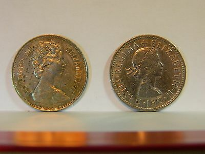 Elizabeth II  Decimal 5p,  Shilling,  Sixpence Coins  1980, 1957, 1960