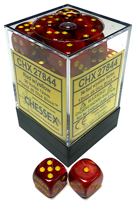 Chessex Dice: Vortex 12mm D6 Red/Yellow (36) CHX 27844