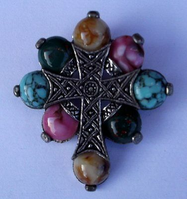 Scottish Celtic Miracle Brooch / Plaid Pin / Pendant Pastel Marbled Cross Stone