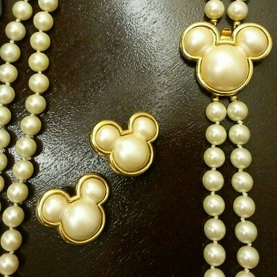 VINTAGE Disney Mickey Mouse Pearl Necklace Clip Earring Set COLLECTOR EDITION!