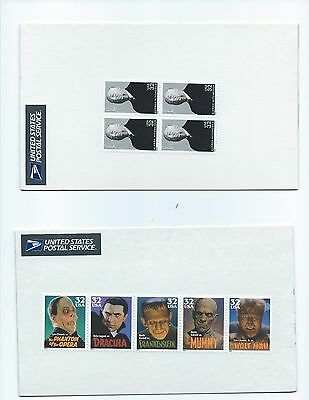 1997 USA 32c Classic Movie Monsters and 1998 32c Alfred Hitchcock block of 4