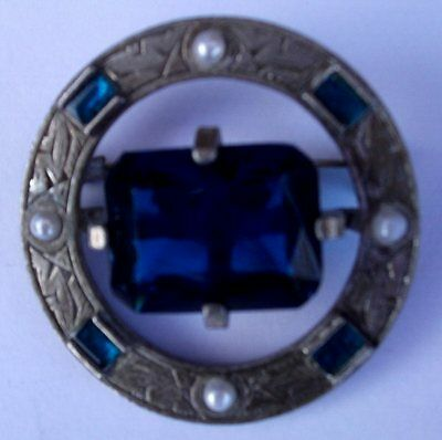 Lovely Scottish Celtic Brooch / Plaid Pin Like Miracle Blue Gem Stone / Pearls