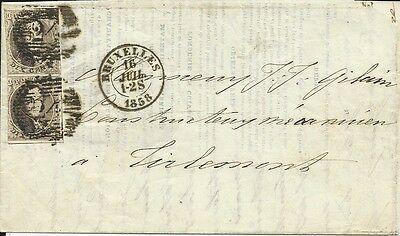 Belgium folded letter 1858 with pair of 10 cents stamps