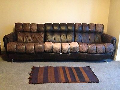 A Masculine Vintage Distressed Sofa Settee Couch