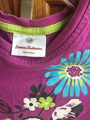 HANNA ANDERSSON girl's 120 (5-6) purple-pink flowered long-sleeve t-shirt top