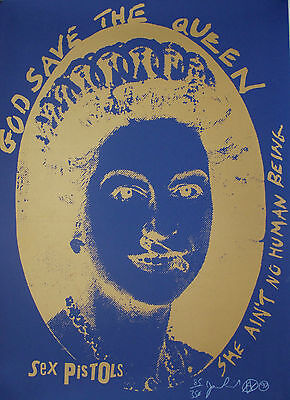 Jamie Reid - God Save The Queen Signed Screen Print - Punk Sex Pistols From 1997