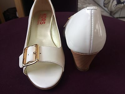 Lovely Michael Kors New Boxed Size 6 Wedge Shoes Patent White Gold Buckle