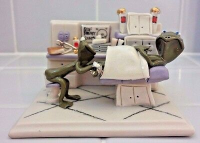 "Adorable Frogs In ""OBGYN Doctor's Visit Scene"" Porcelain Sculpture Figurine"