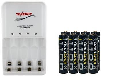 4 Bay AA / AAA LED Smart Charger + 8-Pack AAA Acculoop-X NiMH 1100 mAh Batteries