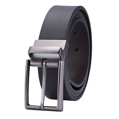 125CM Men Genuine Leather Belt Alloy Pin Buckle Waist Strap 2 Side Usable Belt