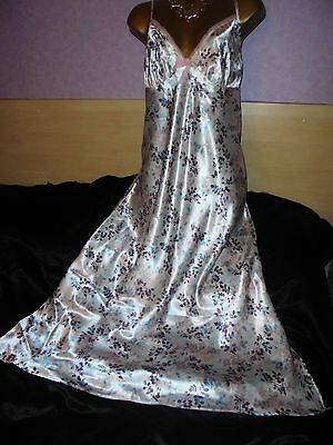Stunning   Glossy  silky satin  nightie dress slip  gown negligee  18