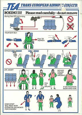 Trans European Airlines Boeing 737 Safety Card
